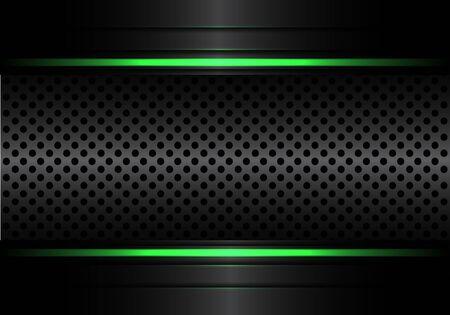 Abstract black metallic circle mesh with green line light design modern luxury futuristic background vector illustration.