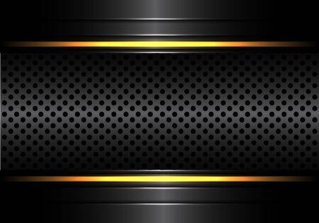 Abstract black metallic circle mesh with yellow line light design modern luxury futuristic background vector illustration. 版權商用圖片 - 127318039
