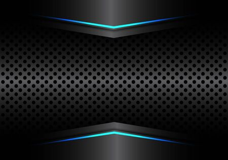 Abstract black metallic circle mesh with blue arrow light design modern luxury futuristic background vector illustration.