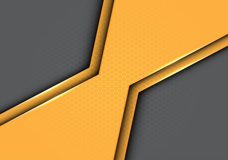 Abstract yellow polygon metallic with hexagon mesh pattern on grey design modern futuristic background vector illustration.