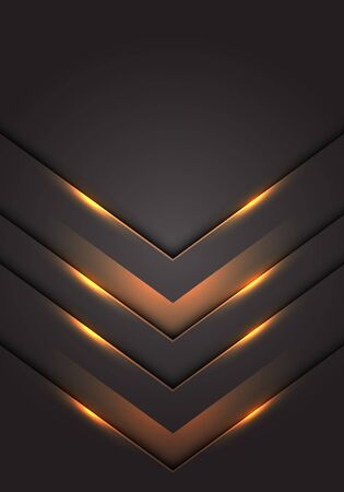 Abstract yellow light 3D arrow direction on dark grey blank space design modern futuristic technology background vector illustration.