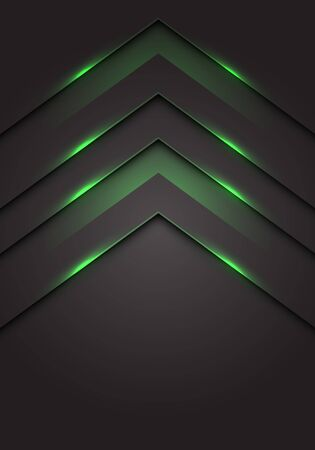 Abstract green light 3D arrow direction on dark grey blank space design modern futuristic technology background vector illustration.