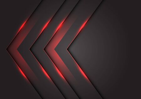 Abstract red light 3D arrow direction on dark grey blank space design modern futuristic technology background vector illustration. Ilustração