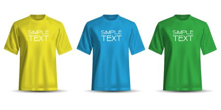 Realistic T-shirt yellow blue green on white background vector illustration. 版權商用圖片 - 129560427