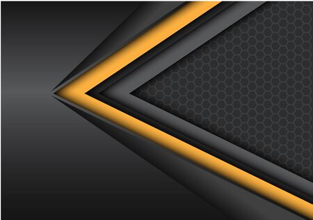 Abstract yellow black speed direction on dark metallic with hexagon mesh pattern design modern futuristic background vector illustration. 向量圖像
