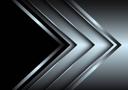 Abstract silver arrow layer direction with black blank space design modern luxury futuristic background vector illustration. 向量圖像