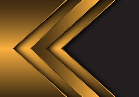 Abstract gold metallic arrow direction with grey blank space design modern futuristic background vector illustration. 向量圖像