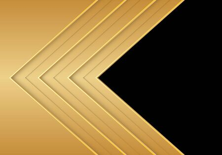 Abstract gold arrow direction overlap with black blank space design modern futuristic background vector illustration.