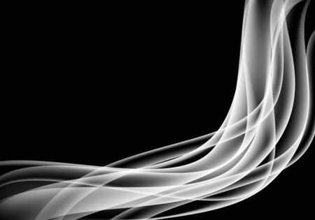 Abstract white smoke curve on black background vector illustration.