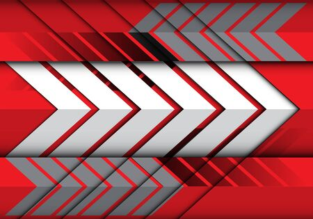 Abstract white grey arrow pattern on red direction design modern futuristic background vector illustration.