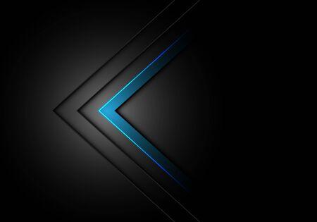 Abstract blue arrow direction dim light on black design modern futuristic background vector illustration.
