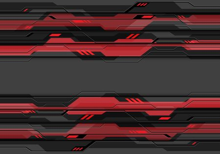 Abstract dark grey metallic cyber circuit with red light power system data design modern futuristic technology background vector illustration. 版權商用圖片 - 129560847