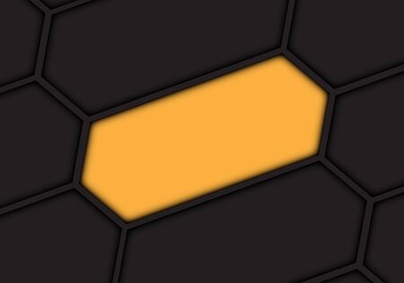 Abstract yellow hexagon blank space on dark grey pattern design modern futuristic background vector illustration.