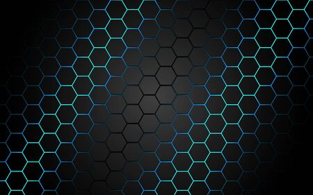 Abstract blue light hexagon line in grey modern luxury futuristic background vector illustration. 向量圖像