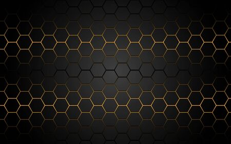 Abstract yellow light hexagon line in grey modern luxury futuristic background vector illustration.