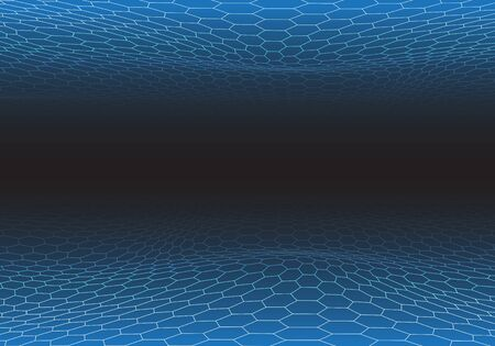 Abstract blue hexagon mesh wave on black design modern futuristic technology background vector illustration.