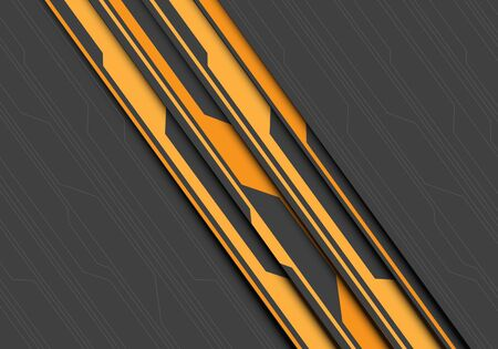 Abstract yellow circuit slash on grey line pattern design modern futuristic background vector illustration.
