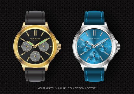 Realistic clock watch chronograph gold black and silver blue collection luxury on black circle mesh background vector illustration.