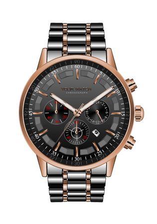 Horloge réaliste montre chronographe en acier noir cuivre luxe pour hommes sur illustration vectorielle blanc.