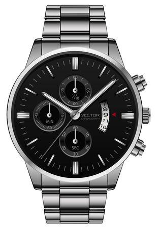 Realistische klok horloge roestvrij staal zwart gezicht luxe voor mannen op witte achtergrond vectorillustratie. Vector Illustratie