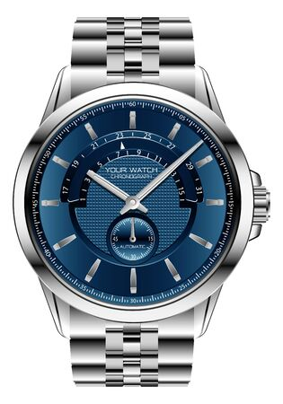Realistic clock watch chronograph blue  silver steel luxury for men on white background vector illustration.