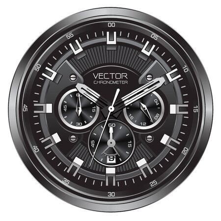 Realistic black silver clock watch face chronograph luxury on white background vector illustration. Illusztráció