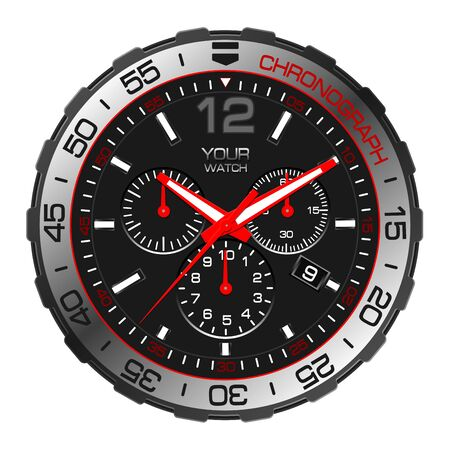 Realistic black red silver clock watch chronograph sport luxury on white background vector illustration.