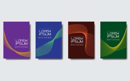 Abstract wave lines design colorful cover set collection on grey background design modern futuristic vector illustration.