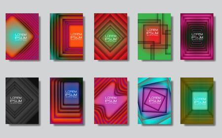 Abstract squares design colorful cover set collection on grey background design modern futuristic vector illustration.