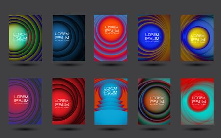 Abstract circles design colorful cover set collection on grey background design modern futuristic vector illustration.