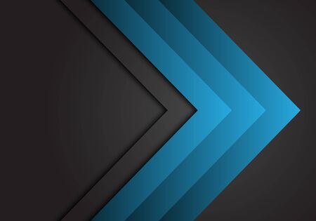 Abstract blue arrow steel direction on dark grey design modern futuristic background vector illustration.