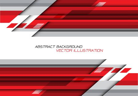 Abstract red grey polygon geometric on white with blank space for text design modern futuristic background vector illustration.