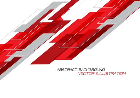 Abstract red grey geometric on white with blank space design modern futuristic technology background vector illustration. Ilustração