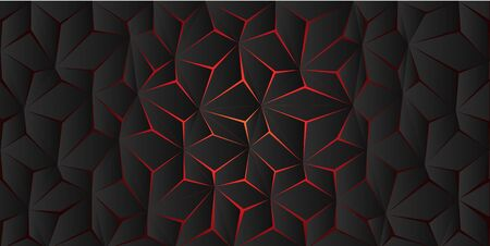 Abstract red light polygon crack on dark grey design modern background texture vector illustration.