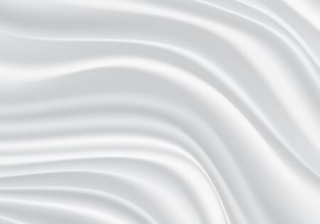 White fabric satin wave background texture vector illustration. Ilustrace