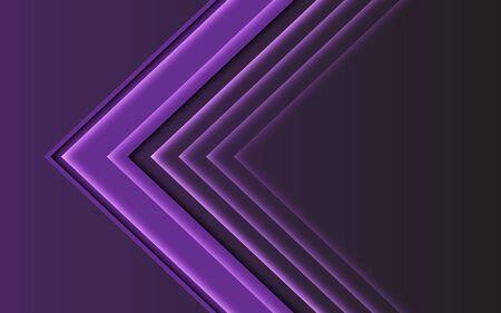 Abstract purple light arrow direction on dark design modern futuristic background vector illustration.