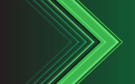 Abstract green light arrow direction on dark design modern futuristic background vector illustration.
