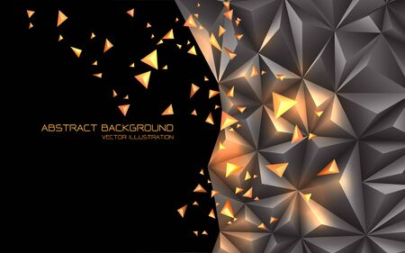 Abstract grey gold triangle 3D with black blank space design modern futuristic technology background vector illustration. Ilustração
