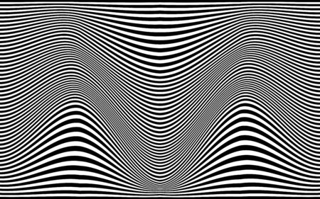 Abstract black white lines pattern curve wave background vector illustration.