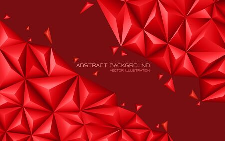 Abstract red tone triangle 3D design modern futuristic background vector illustration. Ilustração