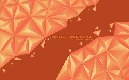 Abstract orange tone triangle 3D design modern futuristic background vector illustration.