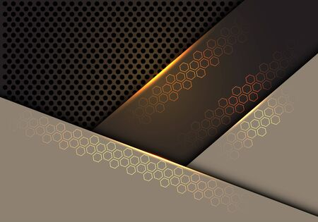 Abstract gold hexagon line light on brown with dark grey circle mesh pattern overlap design modern futuristic technology background texture vector illustration.