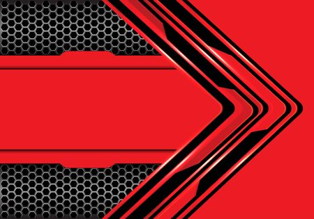 Abstract red black arrow circuit technology direction with hexagon mesh metallic design modern futuristic background vector illustration.