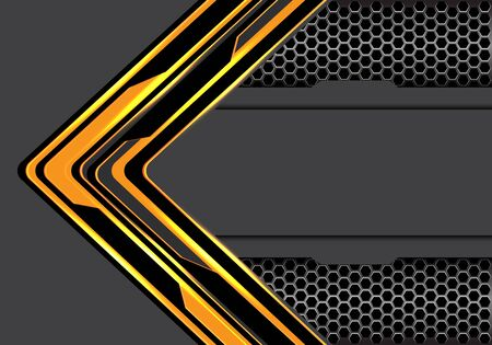 Abstract yellow black arrow circuit technology direction with hexagon mesh metallic on grey blank space design modern futuristic background vector illustration.