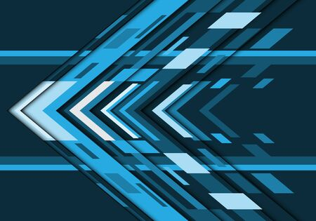 Abstract blue grey tone arrow geometric direction design modern futuristic technology background vector illustration. Ilustração