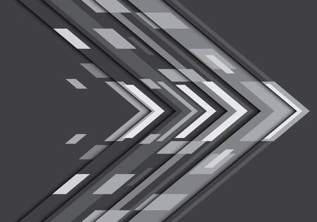 Abstract dark grey tone arrow geometric direction design modern futuristic technology background vector illustration.