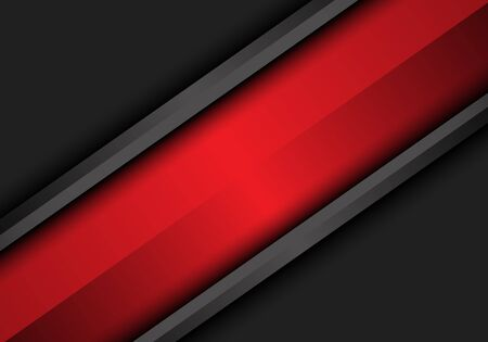 Abstract red banner slash on dark grey metallic design modern futuristic background vector illustration. Ilustracja