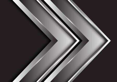 Abstract silver twin arrow metallic direction on black design modern futuristic background vector illustration.