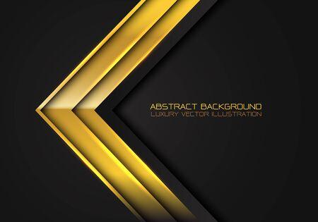 Abstract gold arrow metallic direction on black design modern luxury futuristic background vector illustration. Ilustracja