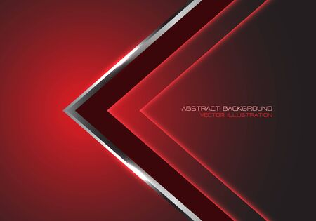Abstract silver black arrow speed direction on red dark blank space design modern luxury futuristic technology background vector illustration. Ilustração